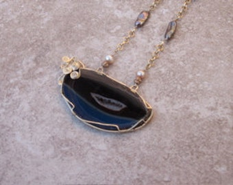 Agate Drusy Eye Necklace