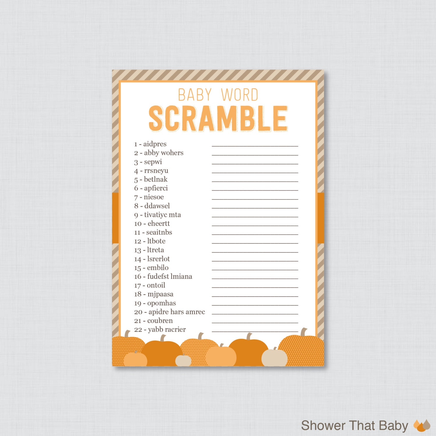 Little pumpkin baby shower word scramble game printable for Housewarming shower ideas