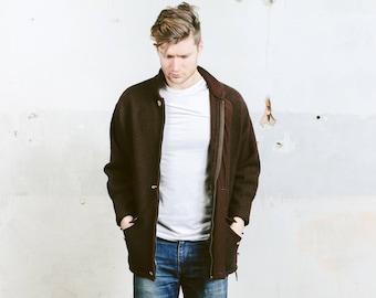 Vintage 90s Wool Zip Up Jacket . Mens Brown Pressed Wool Coat Retro Parka Jacket Outerwear . size Medium