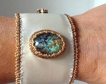 Cuff Bracelet embroidered, Bejeweled silver party