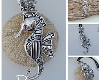 leather necklace, nautical, seahorse