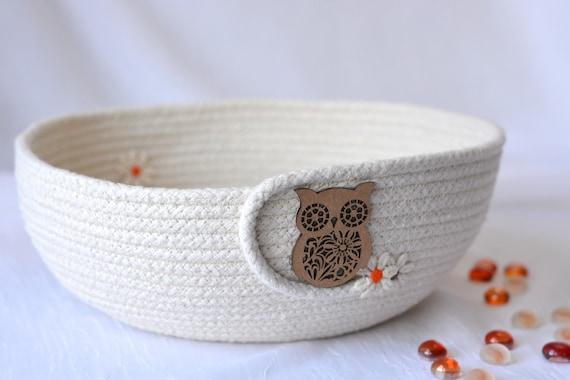 Minimalist Owl Bowl, Handmade Owl Basket, Primitive Clothesline Basket, Phone Holder, Rustic Yarn Bowl,  hand coiled natural rope basket