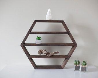 "Hexagon Geometric, Honeycomb Brown Shelf, 18.5""x16"", each dise 9.5"""