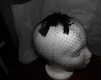 Vintage 1930s/40s-Gorgeous Glam Black Hollywood Dress Fascinator Veil Feather Hat
