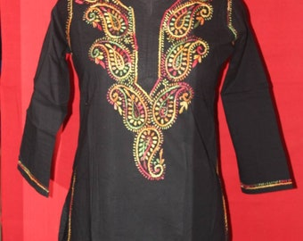 women long black kurti
