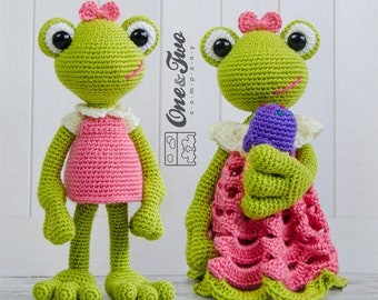 Combo Pack - Kelly the Frog Lovey and Amigurumi Set for 7.99 Dollars - PDF Crochet Pattern Instant Download - Special Offer