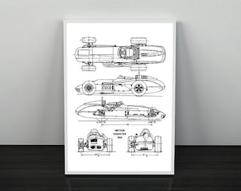 """Race Car Blueprint, Automotive Blueprint, Blueprint Art, Instant Download, Vintage Race Car, Home Decor, Black & White, 5x7"""", 8x10"""", 11x14"""""""
