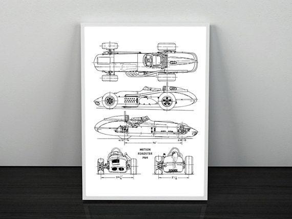 Rennen Auto Bauplan Automobil Blueprint Blaupause Kunst