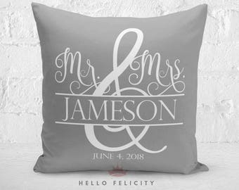 Wedding Pillow, Personalized Throw Pillow, Insert Included, Anniversary Gift for Couples, Wedding Gift, Throw Pillow, 18 x 18, Home Decor