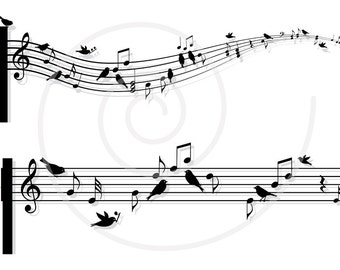 Musical notes with birds, music sheet, animal, digital clip art, clipart, drawing, clip-art, print, printable, vector, instant download