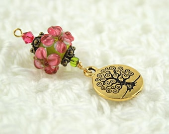 Blessingway bead - Peach Blossoms Tree of Life - Mother Blessing bead, mama goddess
