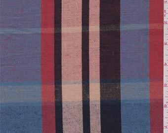 Cornflower/Peach/Rust Plaid Linen, Fabric By The Yard