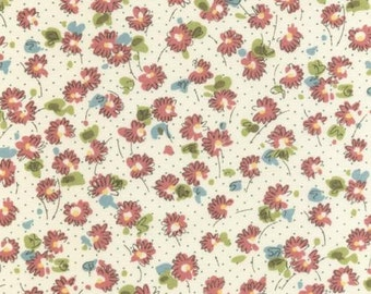 Kathy Hall for Andover, Oh La La, Flowers in Teal and Rose (3826E) - 1 Yard Clearance