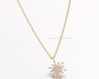 Small CZ Snowflake Pendant Necklace
