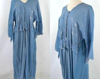 1910s/1920s Cornflower Blue Robe D'Interieure, Dressing Gown, Lingerie Cover, Needs TLC