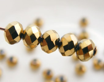 Crystal Beads 4x3mm Faceted Rondelles Metallic Dark Gold Abacus (Qty 25) MW-4x3R-MDG