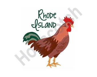 Rhode Island Red Chicken State Bird - Machine Embroidery Design - 5 X 7 Hoop, Farm Animal, Providence