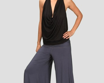 Spring Sale! Cowl Neck Backless Halter Top in Black for Womens Festival Yoga Wear Wholesale Womens Clothing