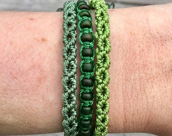 SALE Micro-Macrame Adjustable Bracelet Stack - Green Beaded Mix