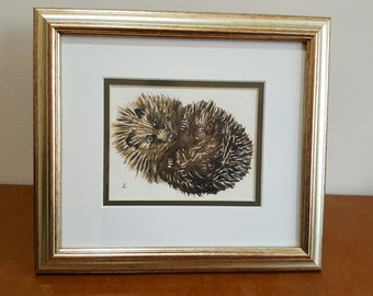 Hedgehog, Original Watercolour Painting, Cute curled-up hedgehog, framed 'Miniature'. Ideal Unique, Art Gift for Nature or Animal Lover