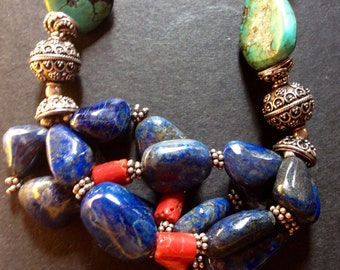 Vintage necklace. Coral, turquoise, lapis and  silver.