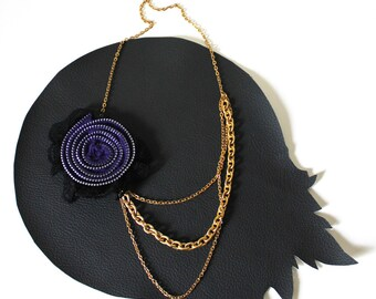 Purple Zipper Rosette with Black Lace and Gold Chain Necklace