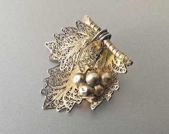 Antique Cluster of Grapes and Leaves Gold Washed Silver Filigree Brooch