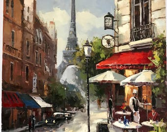 """36"""" x 48"""" Cafe In Paris. Paintings of Paris. French painting. Eiffel Tower. Impressionistic. Hand painted. Oil on canvas"""