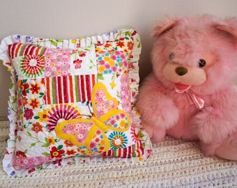 Pink Butterfly Pillow, Girls Decorative Pillow, Nursery Room Cushion,  Patchwork Pillow Cover, Unique Handmade Pillow Case, Children Room