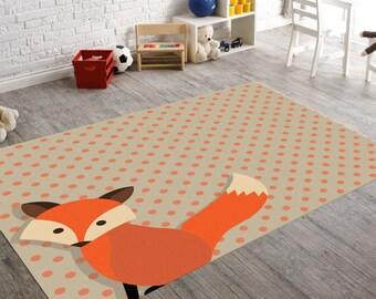 Nice Fox Rug, Woodland Nursery, Woodland Rug, Kids Rug, Nursery Rug, Playroom Images