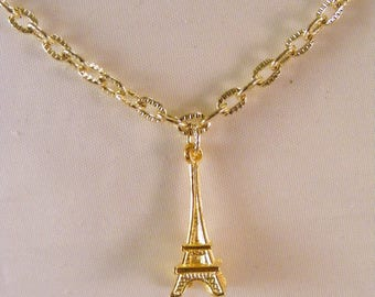 Gold Eiffel Tower Charm Necklace
