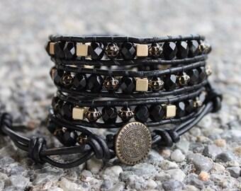 Black & gold 3 wrap bracelet