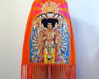 JIMI HENDRIX Hippie Axis Print Fringe Strapless Dress
