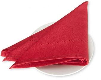 Christmas Linen/Cotton 4 Napkins, Linen Napkins, Red Linen Napkins, Table Decoration, Dining Table Napkins, Christmas Gift