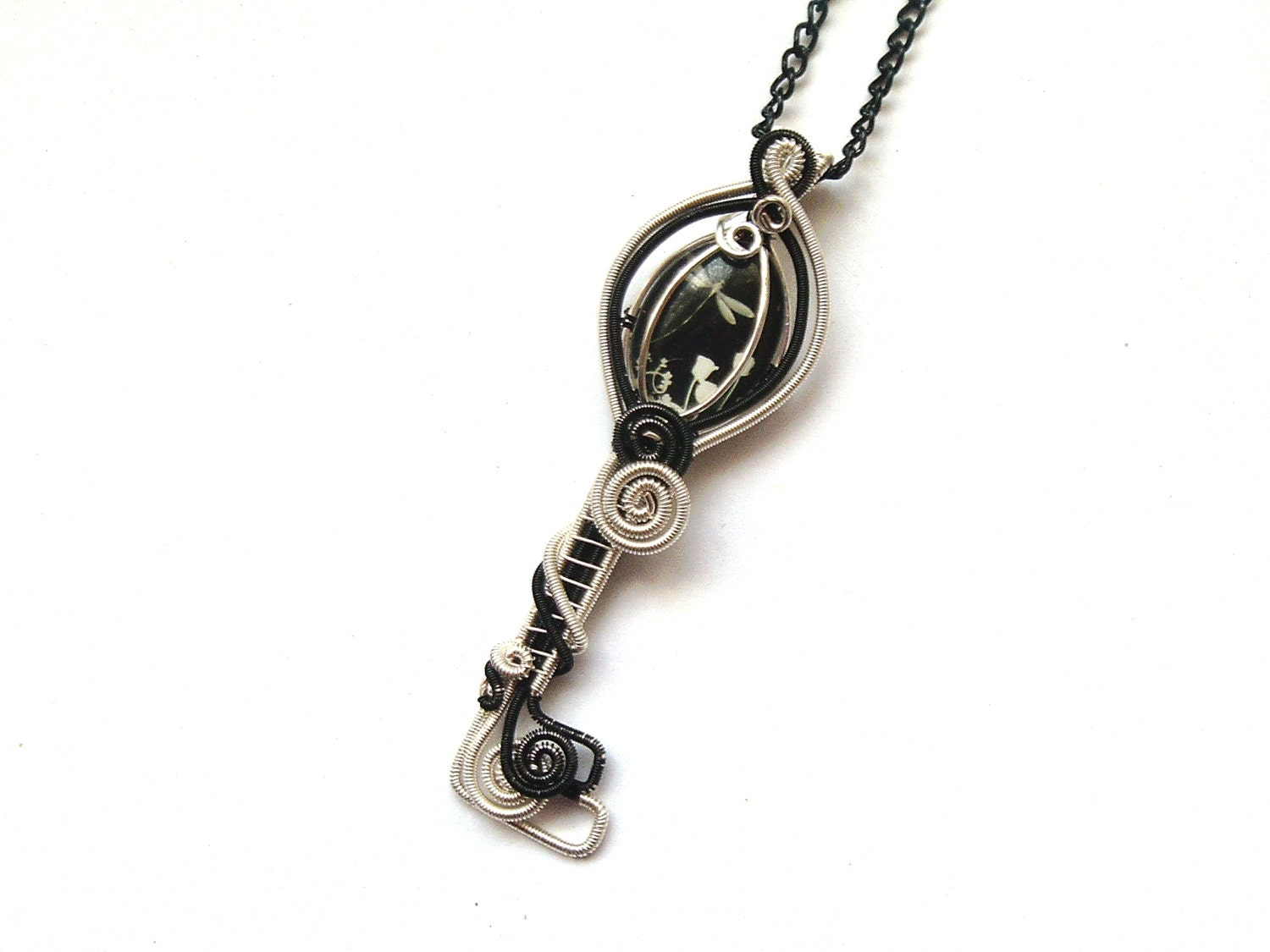 Skeleton Key Wire Wrapped White And Black Dragonfly Cabochon