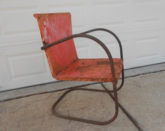 Antique Metal Lawn Chair Rusty Shabby Chic Cottage Porch Patio Garden  Industrial Seating Chippy Paint Orange