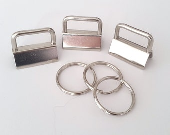 25 sets of 1 inch (25mm)  key fob hardware with keychain, UK Shop