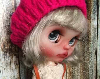 "Blythe doll Beret hat "" Fushia Pink """