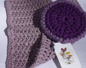 Mini Kitchen Gift Set, Hand Crocheted Purple Cotton Dishcloth and Purple Double-Sided Non-Scratch Nylon Scrubby, Practical Handmade Gift