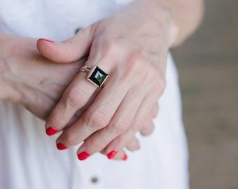 Black Onyx Ring - Square Ring - Black Stone Ring - Silver Onyx Ring - Big Silver Ring - Onyx Ring Women - Large Ring - Ring Size 4 - 15