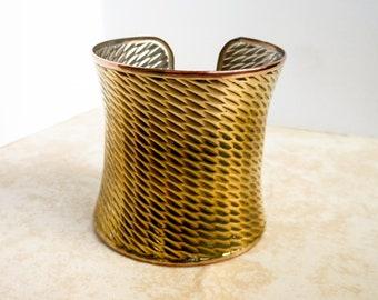 Vintage Wide Concave Cuff Bracelet   Textured Design  Open Back
