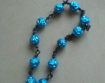 Black & Blue Rose Bracelet Wire-Wrapped
