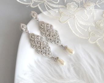 ADELE Chandelier Vintage Pearls Crystal Bridal Earrings Long Victorian Style Earrings Wedding Jewelry drop wedding Earrings