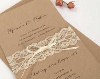 Lace Wedding Invitation, Rustic Lace Wedding Invites, Rustic Invitations