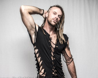 mens shredded shirt | tribal tattered top | festivals beach fashion tshirt | halloween costume | rave gear | plur shirt | lgbt | pride |