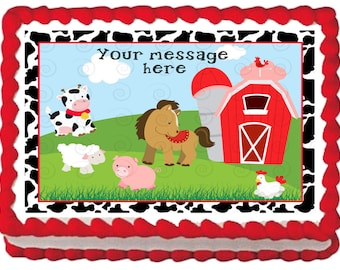 FARM BARNYARD edible cake topper party image