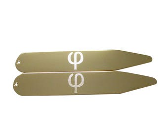 Gold Toned Etched Greek Letter Phi Collar Stays