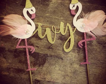 Personalized Flamingo Cake Topper. First Birthday Cake Topper, tropical Cake Topper. One Birthday, 1st birthday