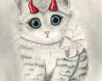 Cute Devil Kitten Cat Drawing Little Red Horns Big Eye Cat Art Kawaii Kitten Gothic Fantasy Cat Art Print 8x10 Cat Lovers Art