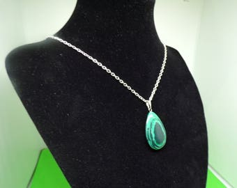 Silver plated necklace with Malachite stone pendant